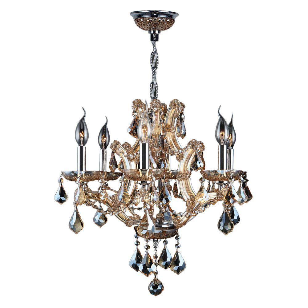 Worldwide Lighting Lyre Collection 6 Light Chrome With Amber Crystal Chandelier W83117c20 Am
