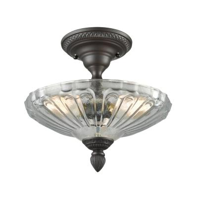 Restoration 3-Light Small Oil Rubbed Bronze with Clear Glass Semi-Flushmount