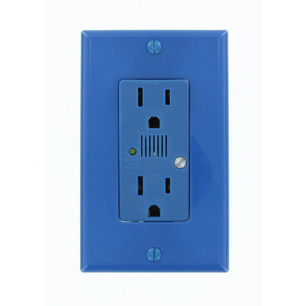 Decora Plus 15 Amp Industrial Grade Self Grounding Duplex Surge Outlet with Audible Alarm, Blue
