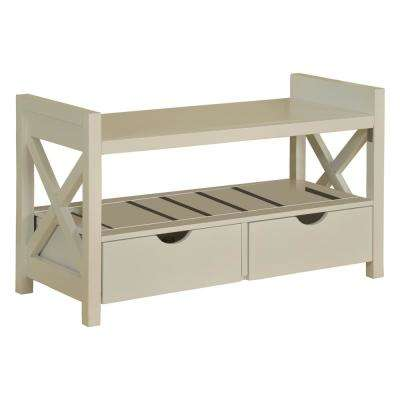 White Wood Shoe Storage Bench with Drawers