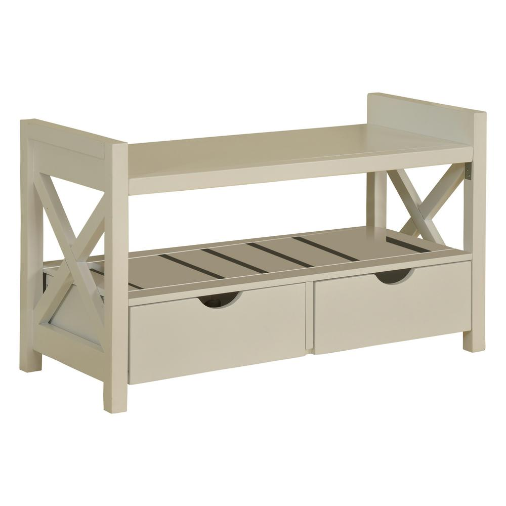 Kings Brand Furniture White Wood Shoe Storage Bench With Drawers