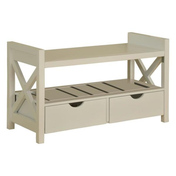 Kings Brand Furniture White Wood Shoe Storage Bench with Drawers HW-11Y