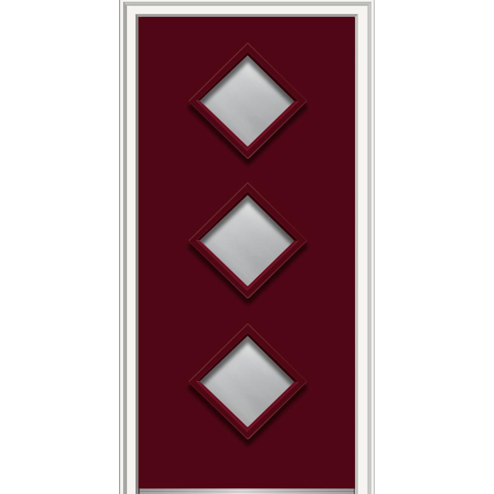 MMI Door 30 in. x 80 in. Aveline Left-Hand Inswing 3-Lite Clear Painted Fiberglass Smooth Prehung Front Door, 4-9/16 in. Frame