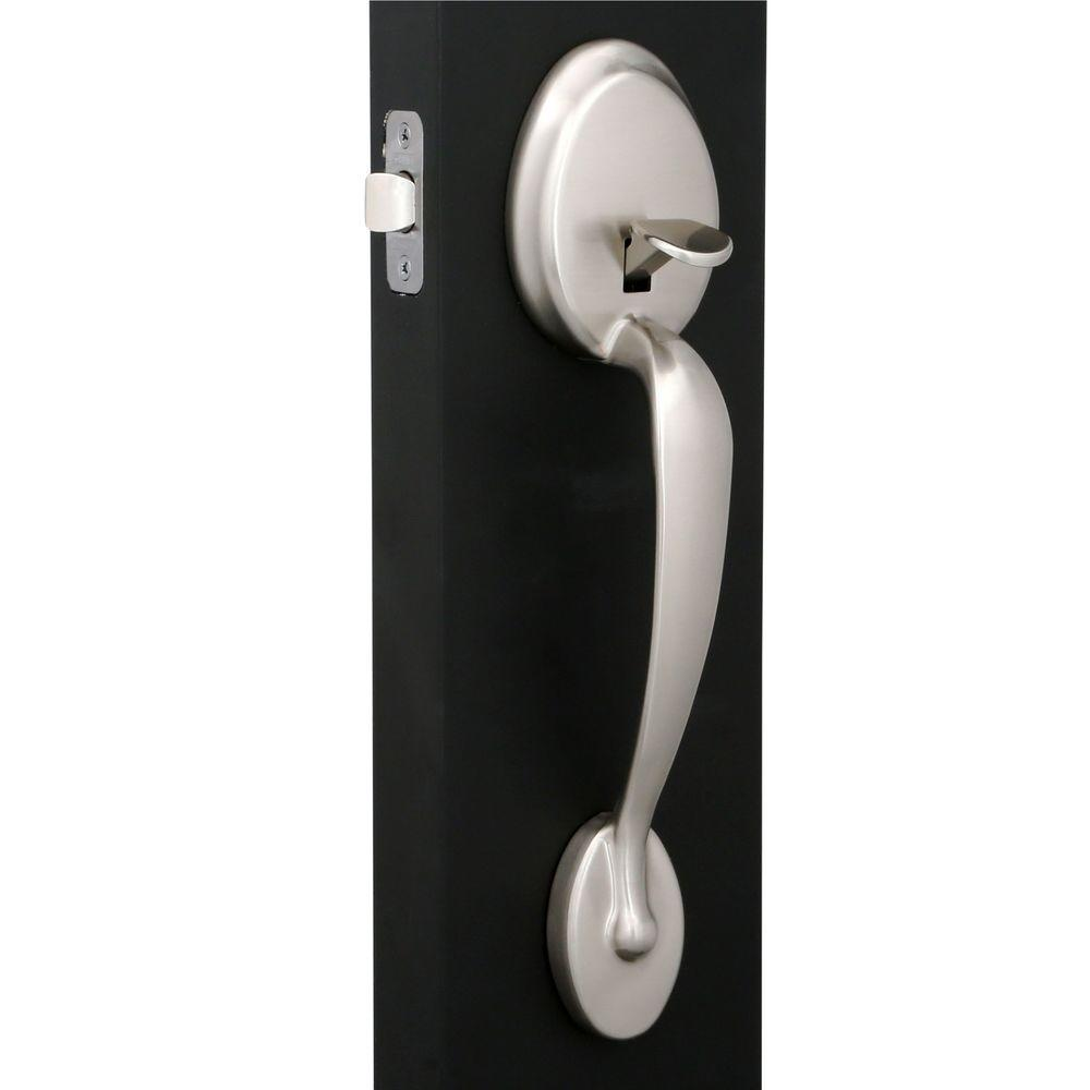 Schlage Plymouth Satin Nickel Front Entry Handle With Flair Right Handed Interior Lever Fe285