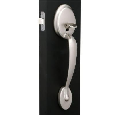 Plymouth Satin Nickel Entry Door Handle with Right Handed Flair Door Lever