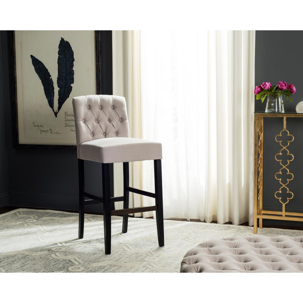 Tufted bar stool in taupe