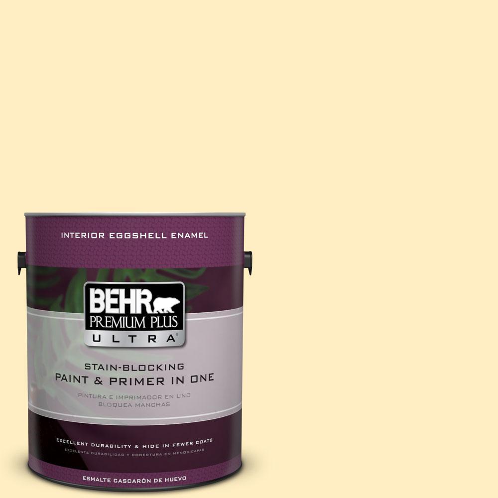 BEHR Premium Plus Ultra 1-gal. #380A-2 Moonlit Yellow Eggshell Enamel Interior Paint