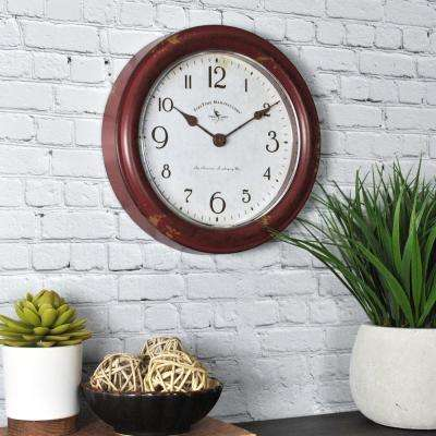 8.5 in. Round Red Patina Wall Clock