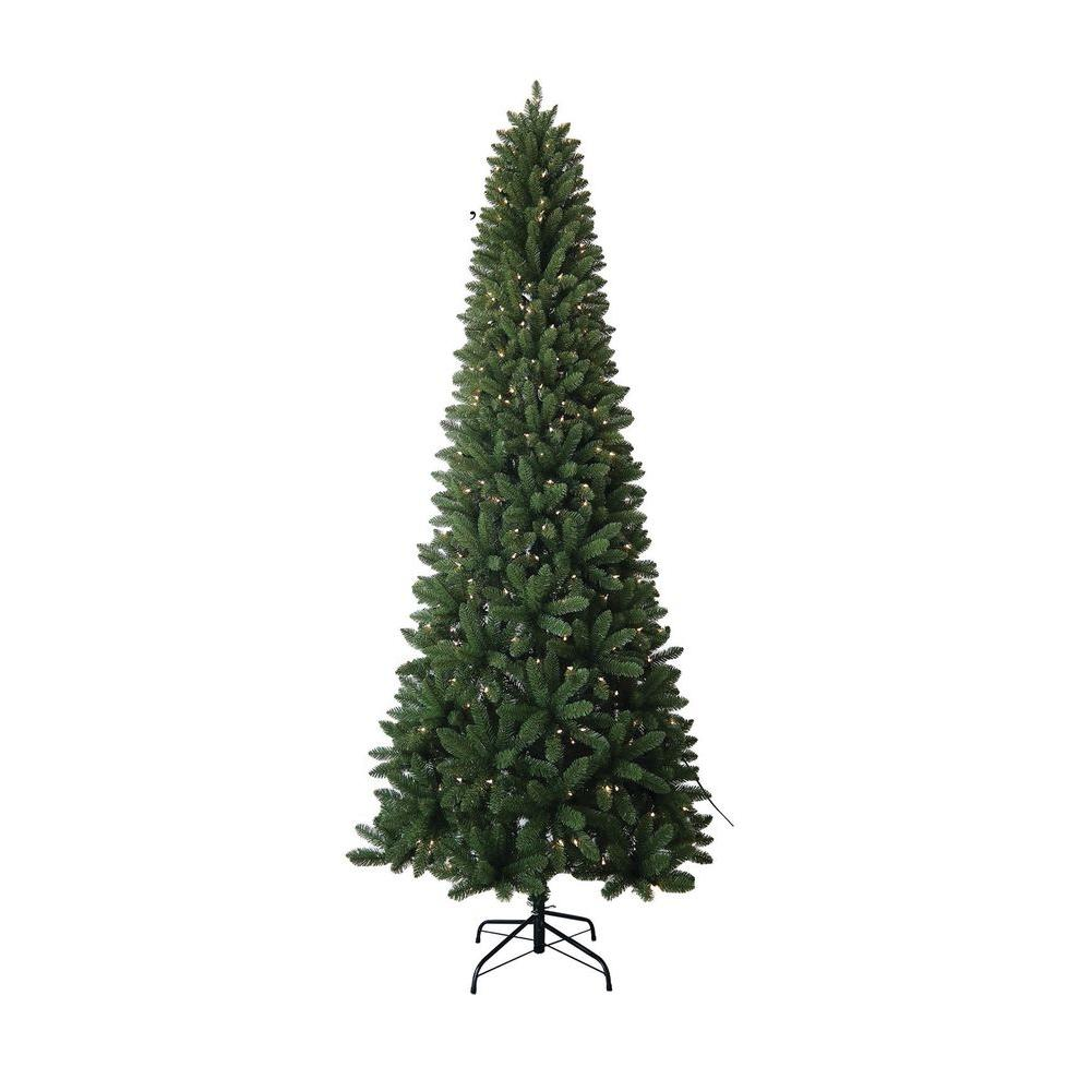 9 ft. PVC Slim Artificial Christmas Tree with UL Lights-13520 ...