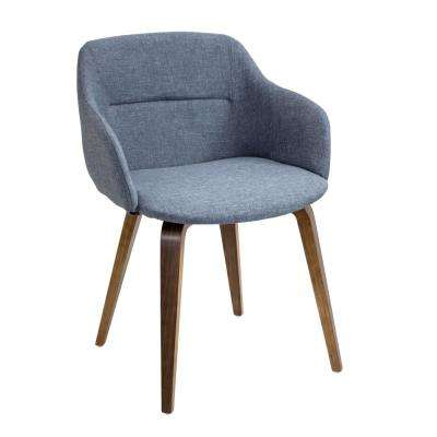 Campania Walnut and Blue Counter Chair