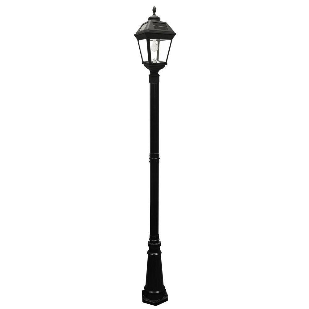 Gama sonic imperial bulb series single black integrated led outdoor solar lamp post light with for Solar exterior post lantern light