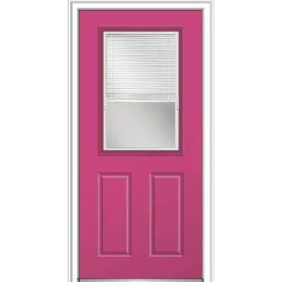 32 in. x 80 in. Internal Blinds Clear Glass Right-Hand Classic 1/2-Lite Painted Steel Prehung Front Door