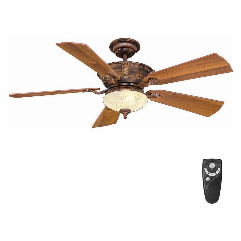 Hampton Bay Bercello Estates 52 in. LED Indoor Volterra Bronze Ceiling Fan with Light Kit and Remote Control