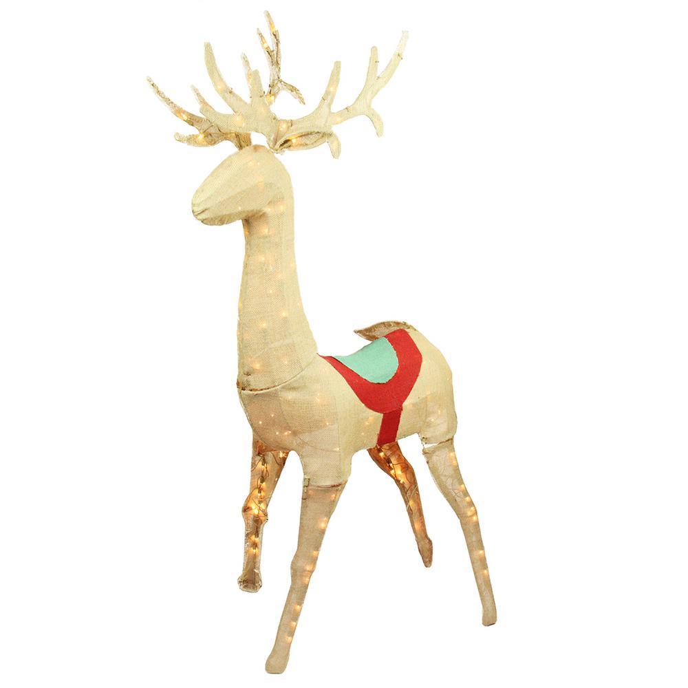 60 in. Christmas Pre-Lit Rustic Burlap Standing Reindeer Outdoor Decoration