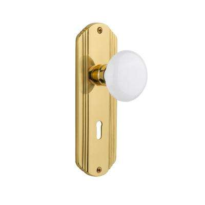 Deco Plate with Keyhole Single Dummy White Porcelain Door Knob in Polished Brass