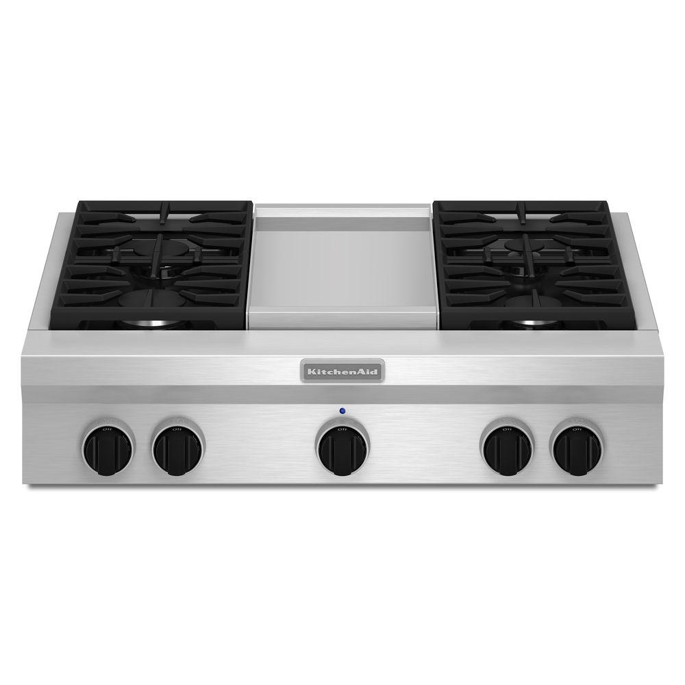 Gas Cooktop In Stainless Steel With Griddle And 4 Burners Including 20000