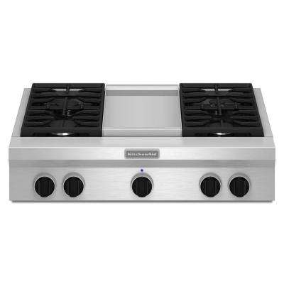 36 in. Gas Cooktop in Stainless Steel with Griddle and 4 Burners including 20000-BTU Ultra Power Dual-Flame Burner