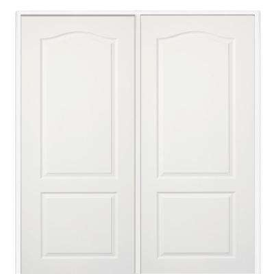 60 in. x 80 in. Smooth Princeton Right-Hand Active Solid Core Primed Molded Composite Double Prehung Interior Door