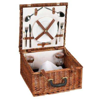 8 in x 15 in Willow Picnic Basket Service for 2