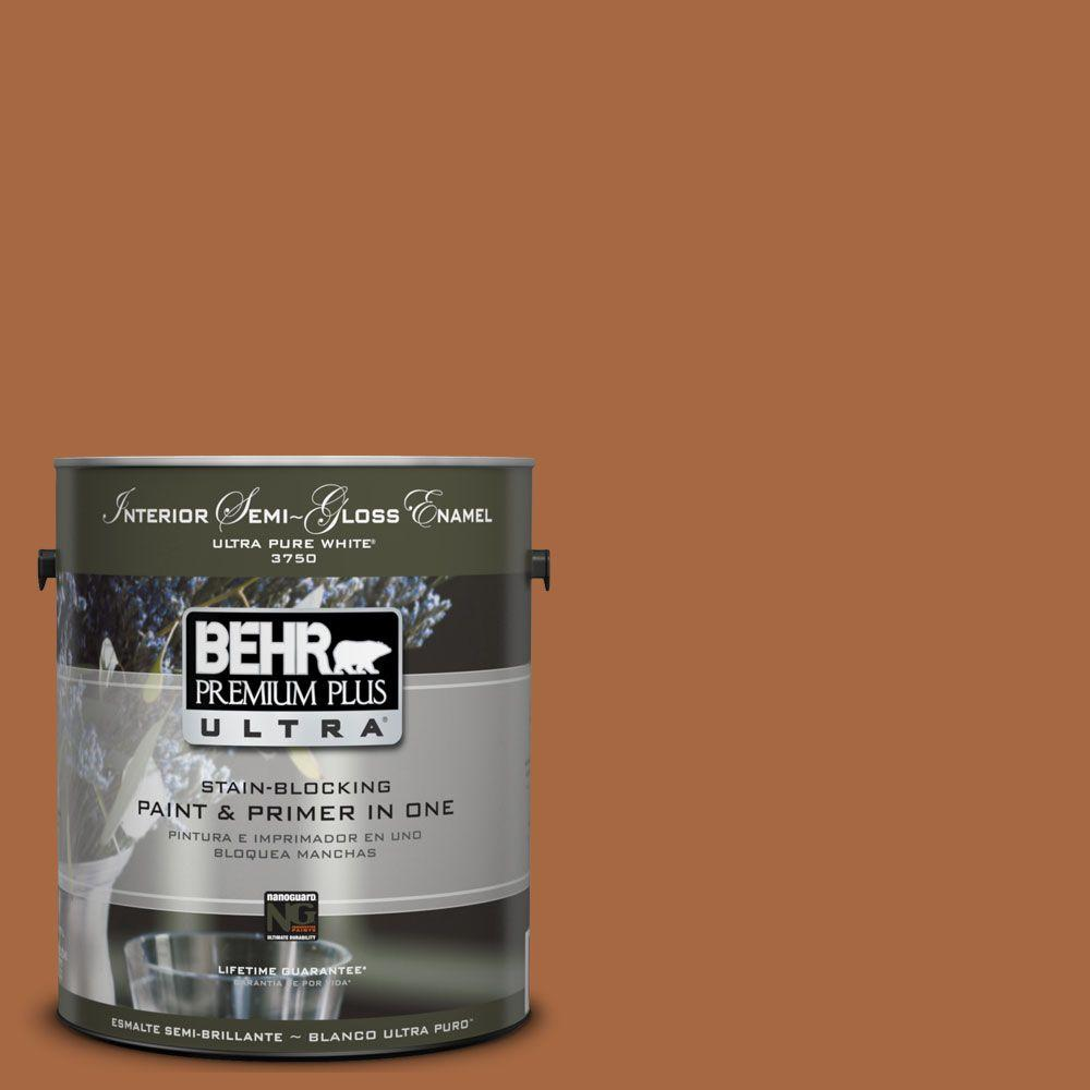 BEHR Premium Plus Ultra 1-gal. #UL120-5 Maple Glaze Interior Semi-Gloss Enamel Paint