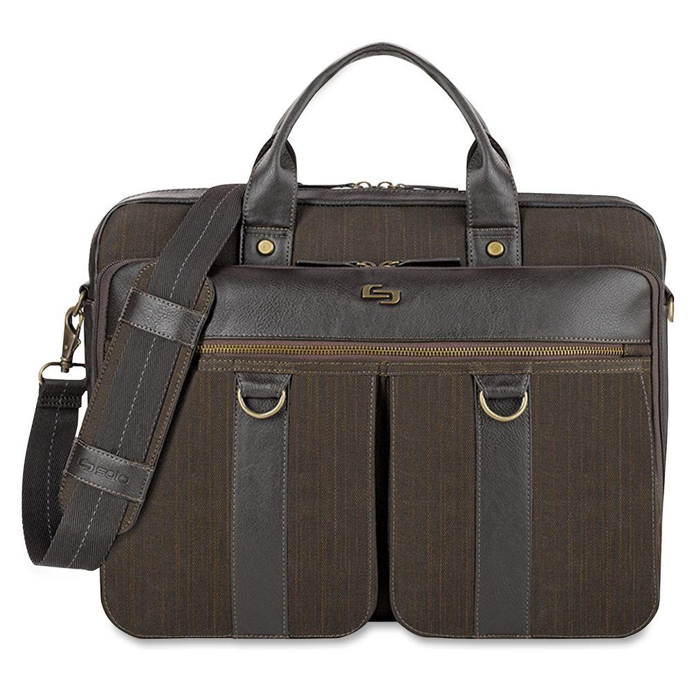 15.6 in. Brown Cotton/Vinyl Executive Notebook Carrying Case