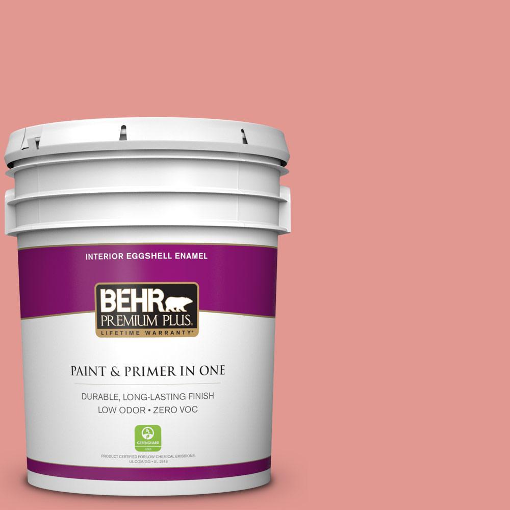 BEHR Premium Plus 5-gal. #160D-4 Strawberry Rose Zero VOC Eggshell Enamel Interior Paint