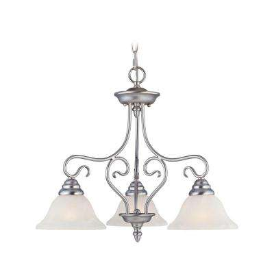 3-Light Brushed Nickel Chandelier with White Alabaster Glass