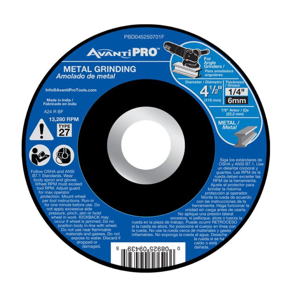 Avanti Pro 4-1/2 in. x 1/4 in. x 7/8 in. Metal Grinding Disc with Type 27 Depressed Center