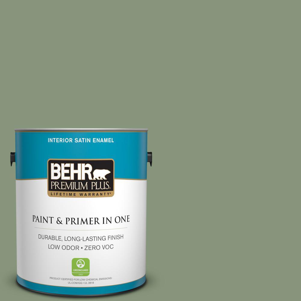BEHR Premium Plus 1-gal. #S390-5 Laurel Tree Satin Enamel Interior Paint