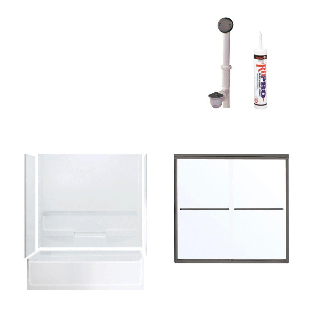 STERLING Advantage 60 in. x 30 in. x 72 in. Bathtub Kit with Left-Hand Drain in White with Oil Rubbed Bronze Trim-DISCONTINUED