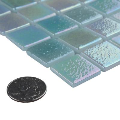 Ruidera Square Agua Mother of Pearl 13 in. x 13 in. x 5 mm Glass Mosaic Tile