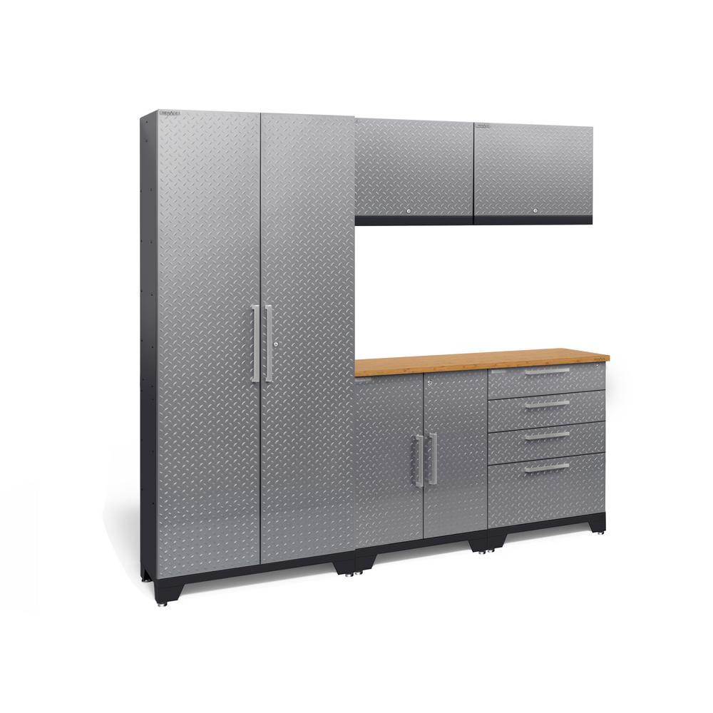 Performance Diamond Plate 2.0 72 in. H x 78 in. W x 18 in. D Garage Cabinet Set in Silver (6-Piece)