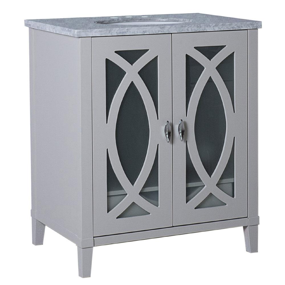 Bellaterra Home Brea 30 in. W x 22 in. D x 36 in. H Single Vanity in Light Gray with Carrara Marble Vanity Top in White with White Basin
