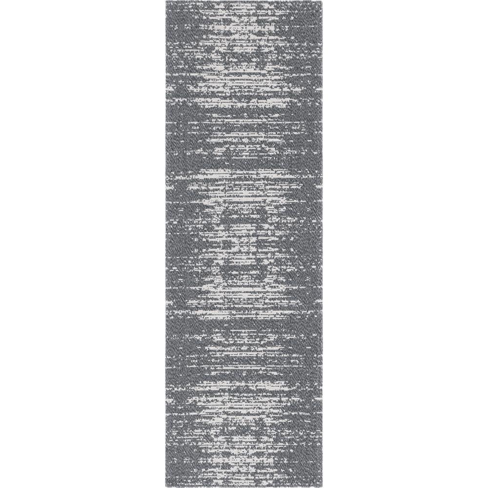 Unique Loom Decatur Static Gray 2 ft. 2 in. x 6 ft. Runner Rug, Dark Gray