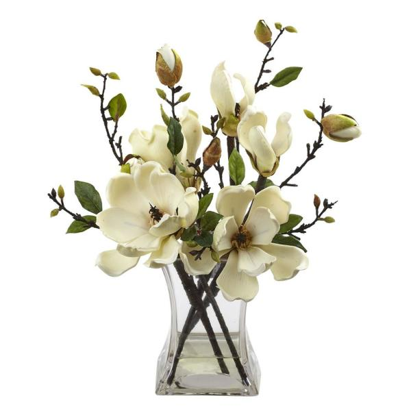 Nearly Natural 15 in. Magnolia Arrangement with Vase