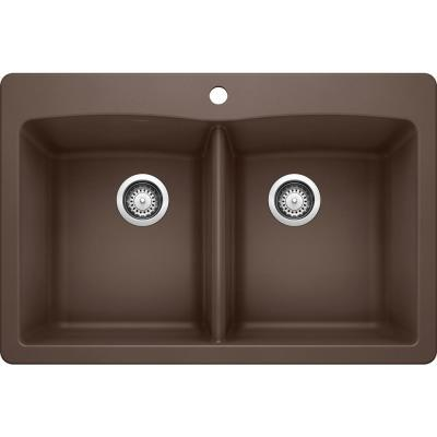 DIAMOND Dual Mount Granite Composite 33 in. 1-Hole 50/50 Double Bowl Kitchen Sink in Cafe Brown