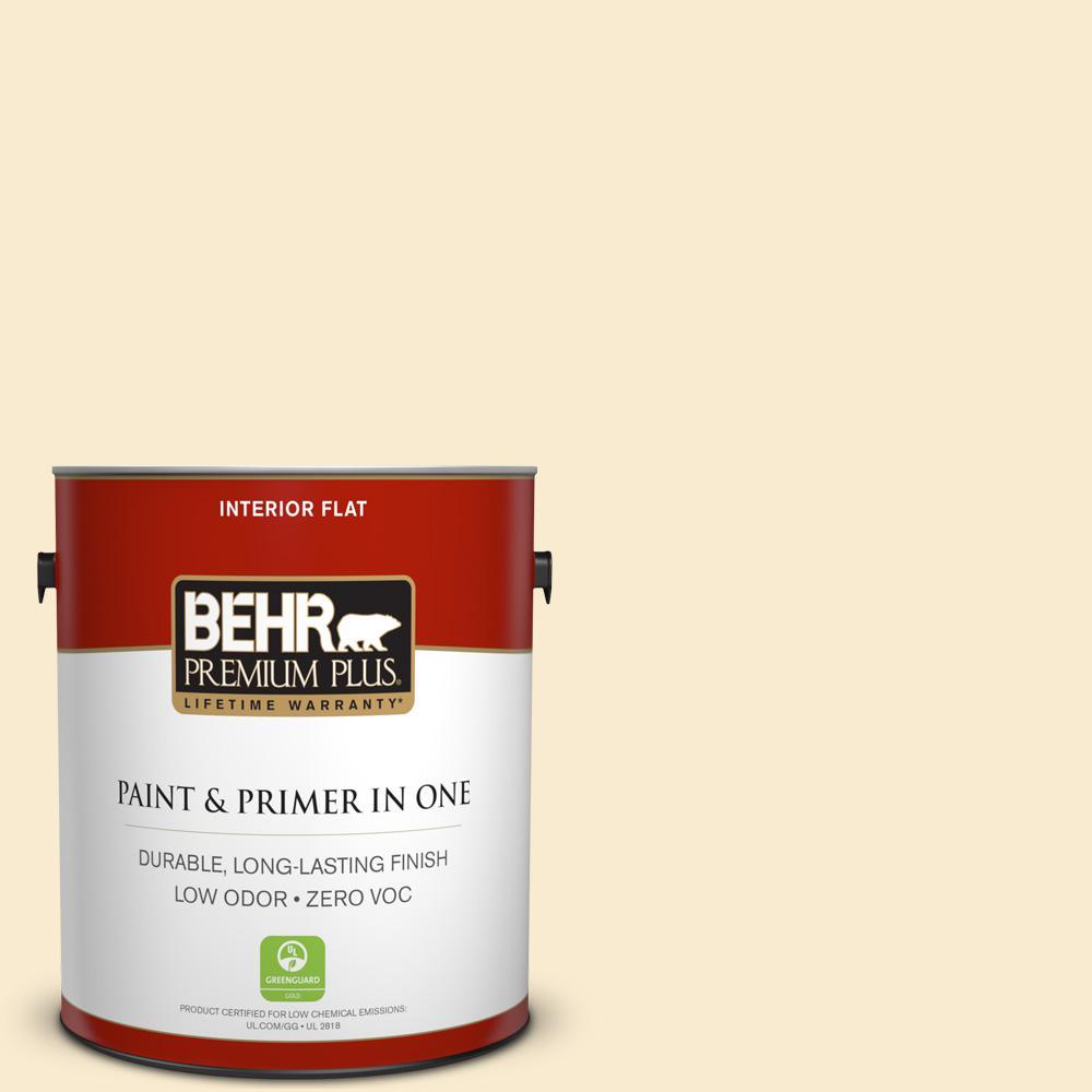 BEHR Premium Plus 1-gal. #320E-1 Popcorn Ball Zero VOC Flat Interior Paint