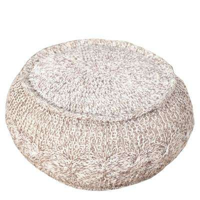 Cable Melange Grey / Natural Round 20 in. x 12 in. Knit Indoor Pouf