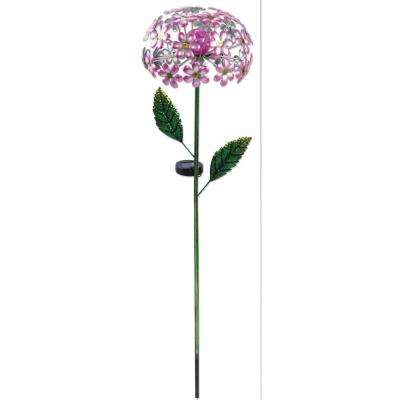 42 in. Solar Pink Hydrangea Stake