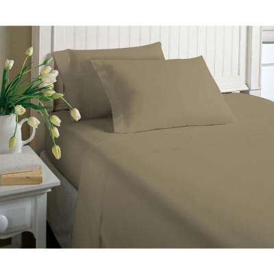 6-Piece Tan Solid Cotton Rich King Sheet Set