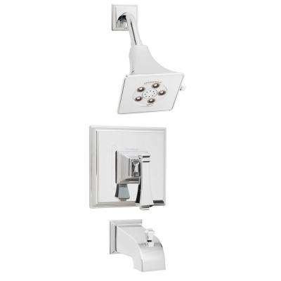 Rainier Pressure Balance Valve and Trim in Shower Combination and Diverter Tub Spout in Polished Chrome