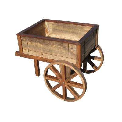 23-1/2 in. in Tall English Cottage Garden Wood Wheelbarrow Planter in Brown