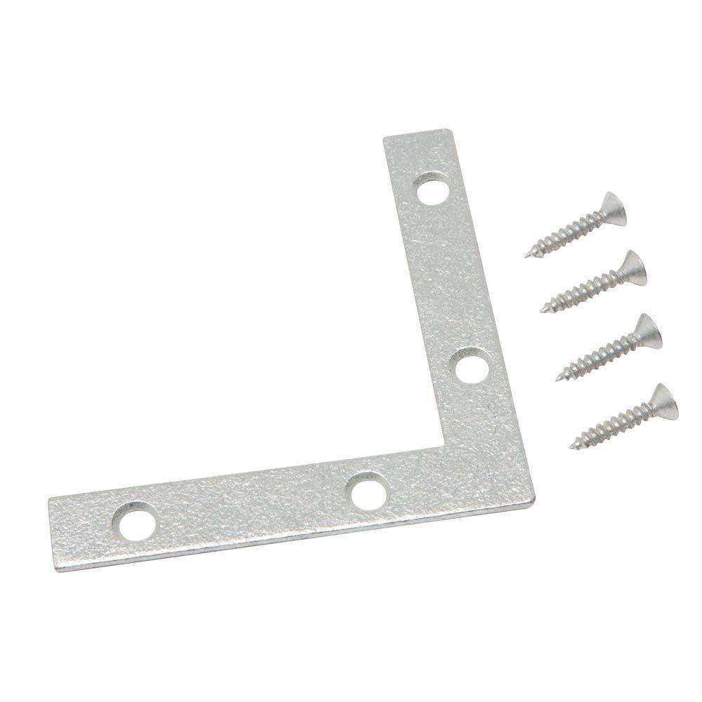 Everbilt 3 in. Galvanized Flat Corner Brace (2-Pack)