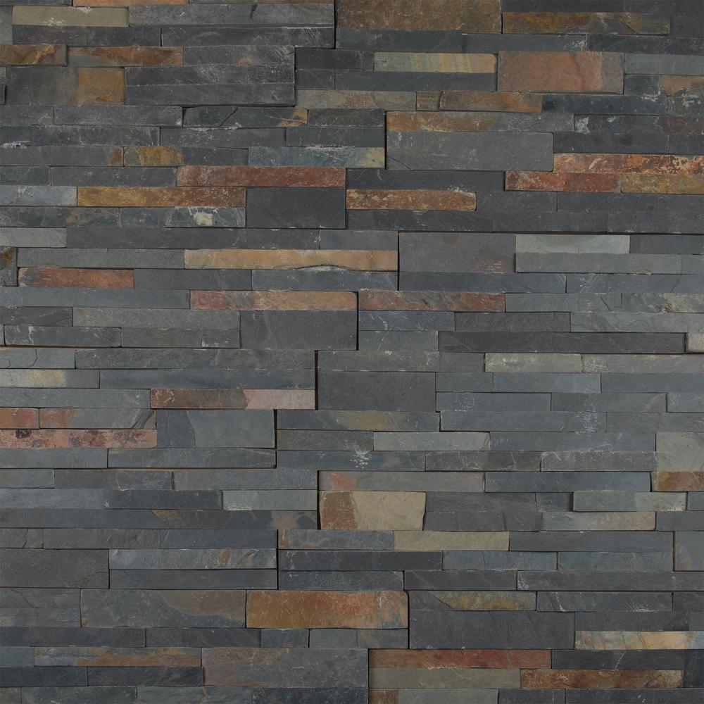 Salvador Multi Panel Ledger Panel 6 in. x 24 in. Natural Slate Wall Tile (28 cases /224 sq. ft. / pallet)