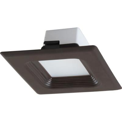 1-Light Indoor/Outdoor 4 in. 3000K Antique Bronze Integrated LED Recessed Retrofit Downlight and Square Trim and Lens