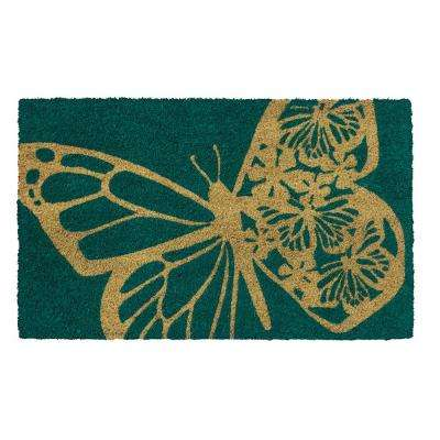 Butterfly 28 in. x 17 in. Non-Slip Coir Door Mat