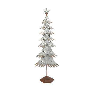 39 in. Galvanized Metal Holiday Tree with Stars