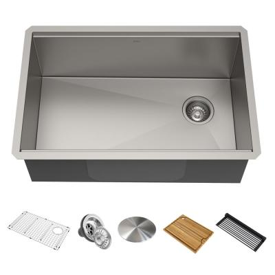 Kore Workstation 27 in. 16-Gauge Undermount Single Bowl Stainless Steel Kitchen Sink with Accessories