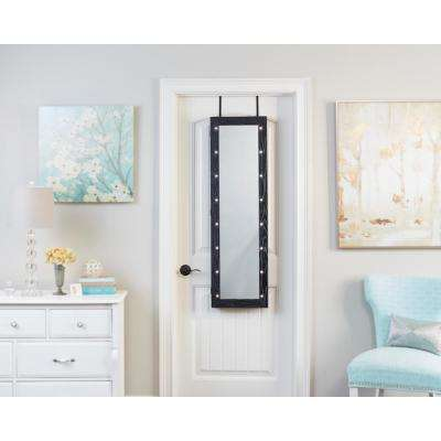 Weathered Black Mirrored Jewelry Armoire with LED Lights