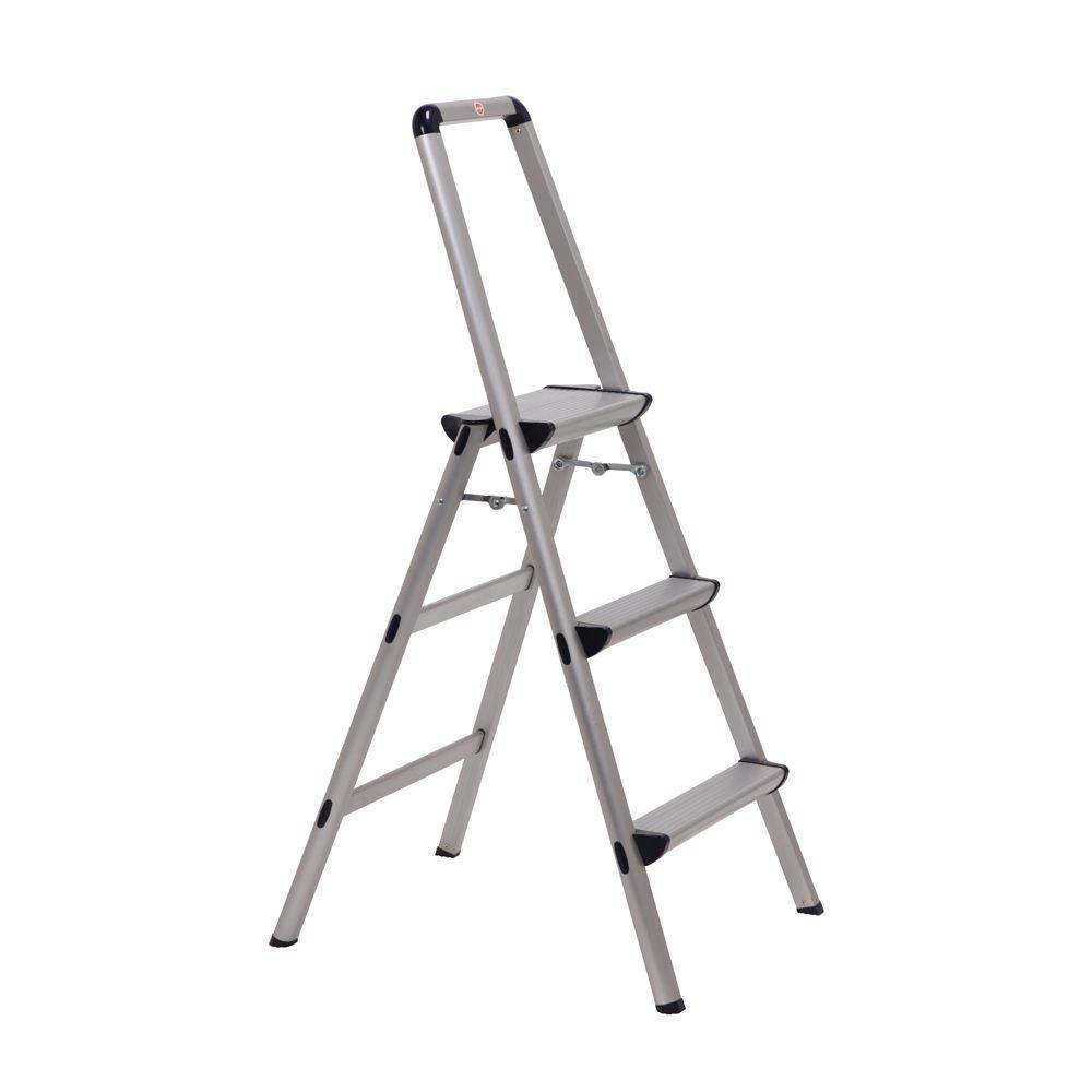 Xtend u0026 Climb Ultra 3-Step Light Weight Aluminum Stool Folding Step Stool with Handle  sc 1 st  The Home Depot : home depot folding step stool - islam-shia.org